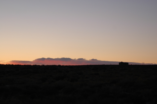 Small building at sunset near Monument Valley.