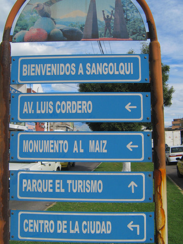 End of the first day: Sangolqui, about 20 miles south of Quito. Not in the guidebook, but a nice town.