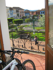 The bikes in our hotel room, overlooking the town square.