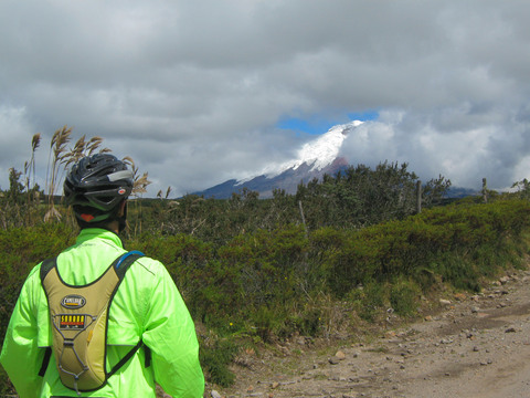 Looking at Mt. Cotopaxi, a volcano that last erupted in 1942.