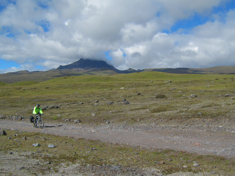 Riding through the desolate high alpine landscape of Cotopaxi National Park.