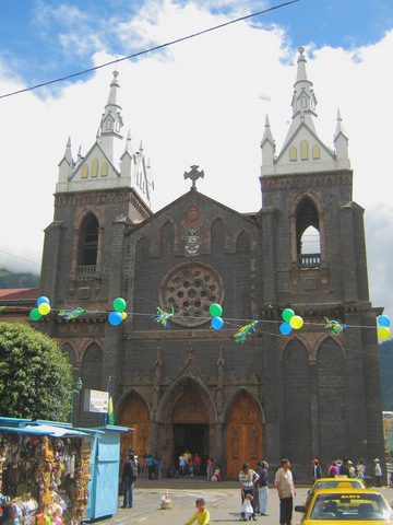 La Iglesia de la Virgen de Agua Santa, in Banos. I rested in Banos for a day. It was very touristy (Anna Rowley described it as