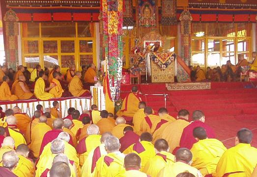 His Holiness the Dalai Lama performing the Kalachakra Initiation, Bodhgaya.
