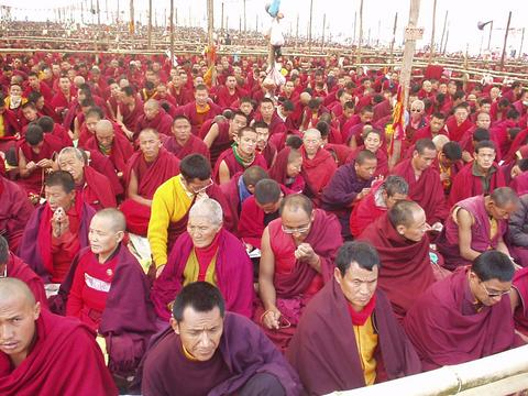 Field of monks taking the Kalachakra Initiation.