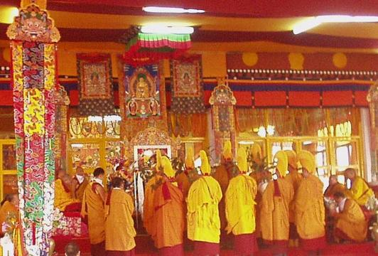 Monks performing part of the Kalachakra Initiation, Bodhgaya.