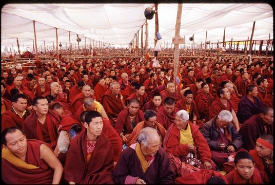 Some of the monks attending the Kalachakra. There were at least as many as three times as many monks in attendance as are visible here.