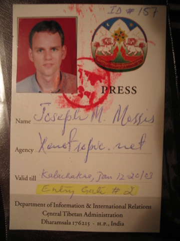 My Tibetan-government-issued press pass.