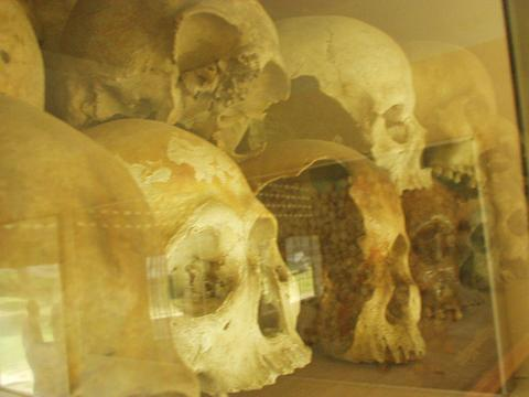 Skulls of those killed by the Khmer Rouge, S-21 concentration camp, Phenom Penh.