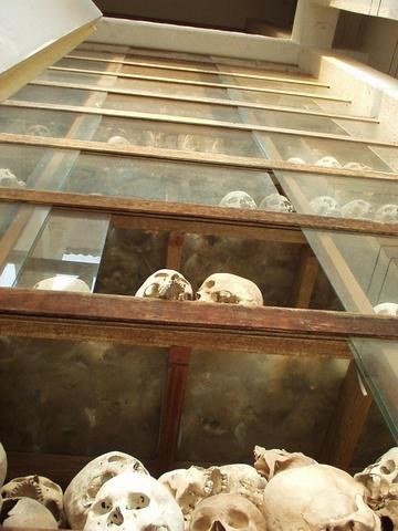 Skulls inside the wat at the killing fields.