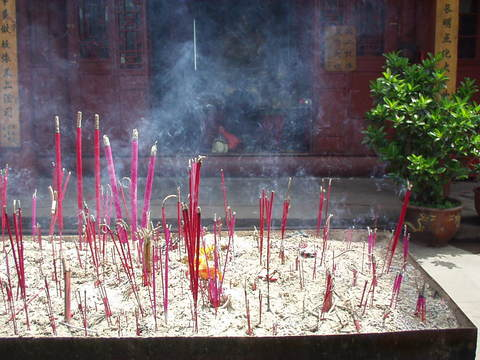Incense burning at the temple.