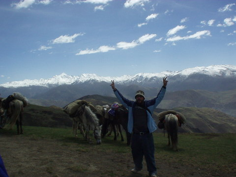 One of the Canadians -- Keith, I think his name was -- happy to get off the horse on the top of the world.
