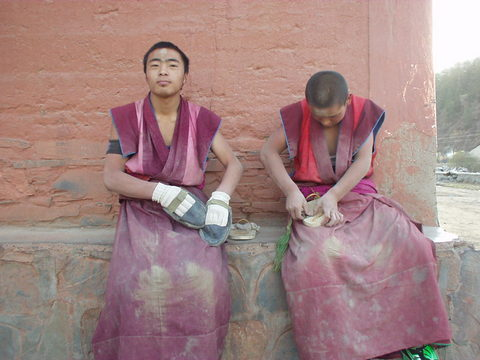 A couple of young monks in Xiahe, in southern Gansu province.