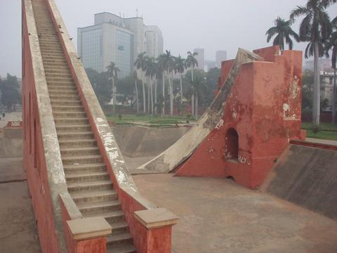 The staircase of the largest sundial of the Jantar Mantar.