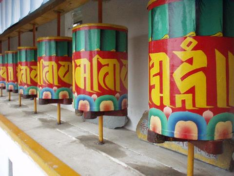 Prayer wheels at the Dip Tse-Chok Ling monastery.