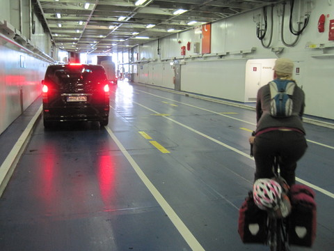 Exiting the ferry between Puttgarden, Germany, and Rodby, Denmark.  The ferry runs every half-hour around the clock.