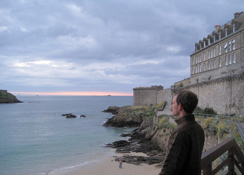 Staring at the sea outside the walls of St. Malo.