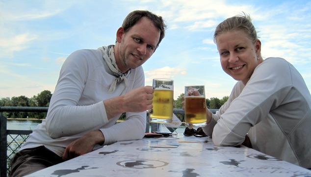 Toasting to a good day of biking on the east bank of the Rhine.