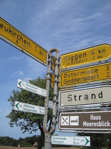 Bike signs in Germany make it significantly easier to navigate on a bike tour.