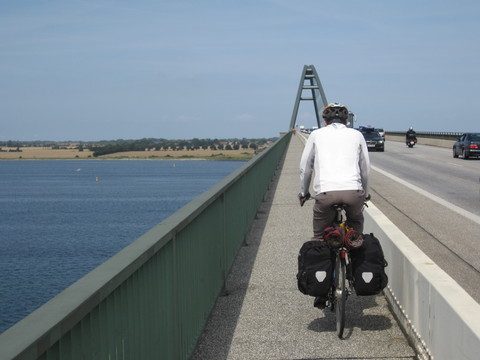 Crossing the bridge from the German mainland to the island of Fehmarn, on the way to the ferry to Denmark.