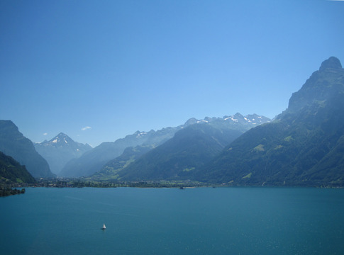 Lake Lucerne in central Switzerland.  Most parts of Switzerland look like a postcard of Switzerland -- blue lakes, green hills, and steep mountains.