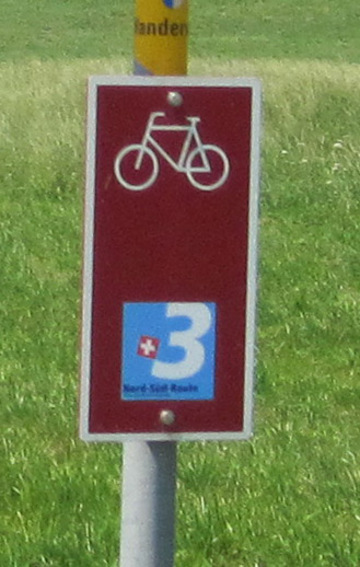 Bike sign for Swiss National Bike Route #3.