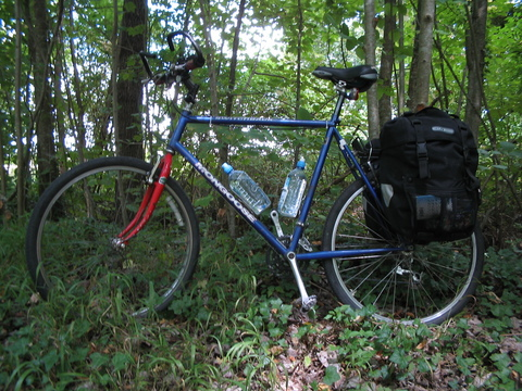 My bicycle, loaded wtih panniers.