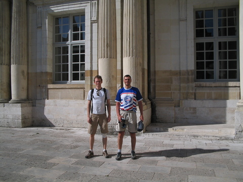 Lawson Conroy and I outside of the chateau at Boise.  Both of us being rather tourist averse, it was the only chateau that either of us visited while on our respective bike tours.
