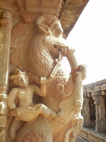 Warrior on rampant lion, Vittala Temple, Hampi.