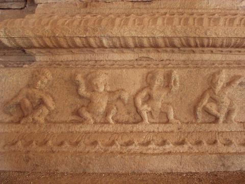 Sculpted frieze on the interior of Vittala Temple, Hampi.