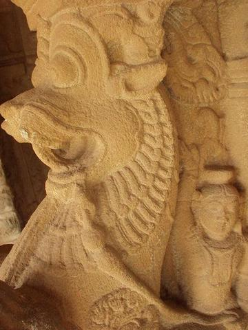 One of the warrior-statues guarding the Vittala temple, Hampi.