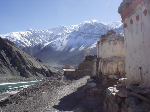 Stupas behind the Alchi Gompa, Ladakh.