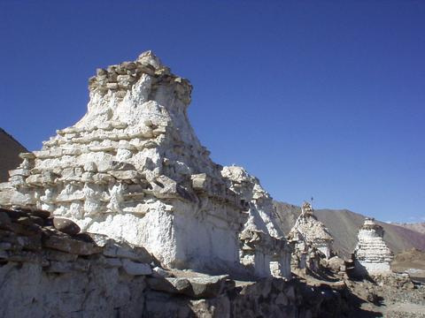 Stupas outside of the town of Alchi, Ladakh.