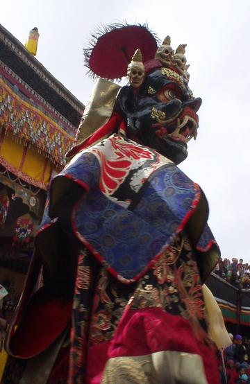 Dancing masked monk at the Spituk Festival, 2003.