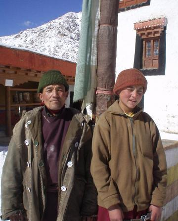 Stanzin, the monk who showed me around the Likir monastery, and another monk.