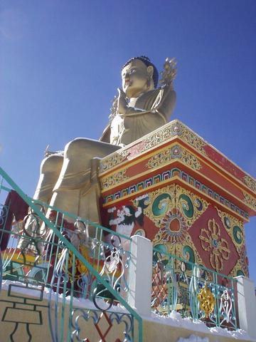 The giant gold buddha at the Likir gompa.
