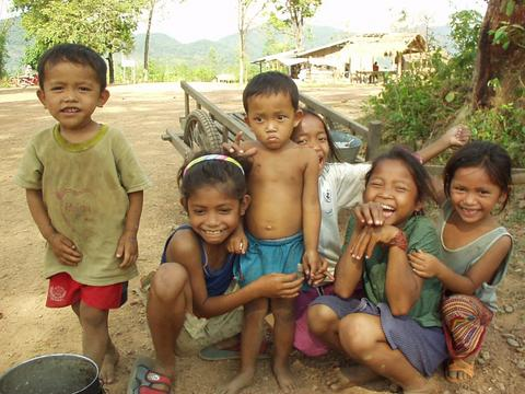 Children in the village of Pa'am, Attapeu province.