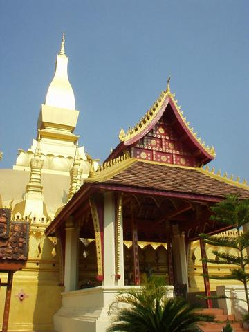 The Luang Stupa, built in 1566, is probably the main monument of Laos, and features prominently on stamps and currency.