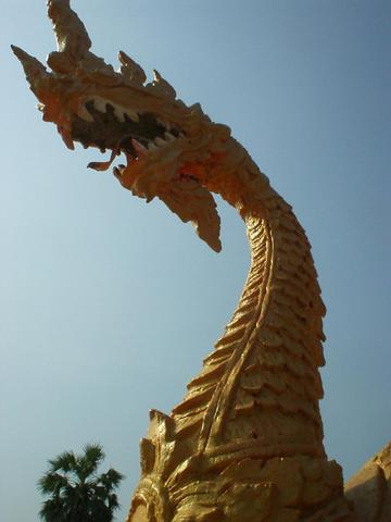 Statue of a dragon near That Luang, Vientiane.