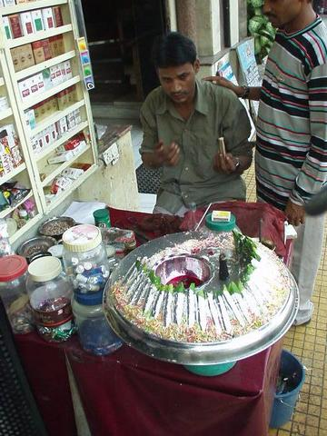 Street stall selling pan.