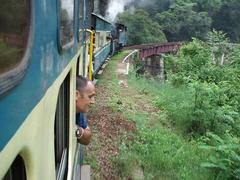 Herve yet again looking out the window of the Ooty train.