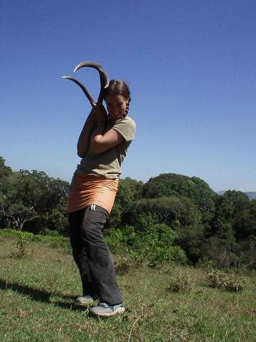 Céline with sambar deer antlers..