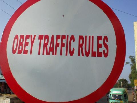 Traffic sign, Pondicherry.