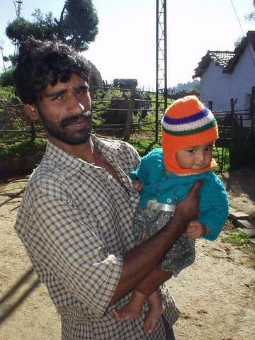 Toda man and his daughter, Nilgiri Hills.