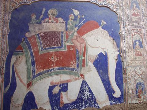 Wall painting from a haveli in Fatehpur, Rajasthan.